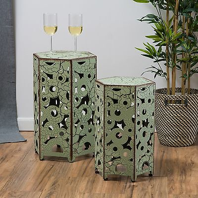(Set of 2) Antique Style Green Accent Side Table