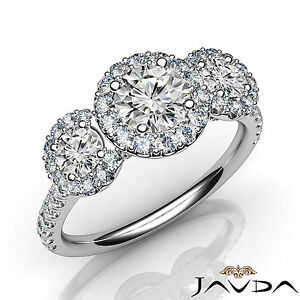 Round Halo Pave Set Diamond Engagement 3 Stone Ring GIA F VS1 Platinum 950 1.5Ct