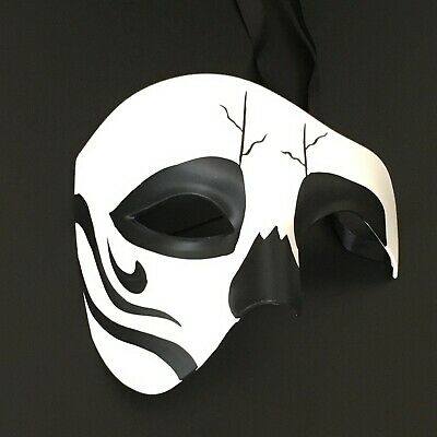 Day Of The Dead Half Mask (Halloween Day of the Dead Phantom Half Face Skull Costume Masquerade Party)