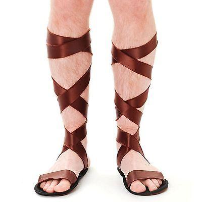 Herren Braun Antike Römischer Gladiator Zenturio Sandalen Schuhe Kostüm - Antiken Römischen Kostüm Zubehör