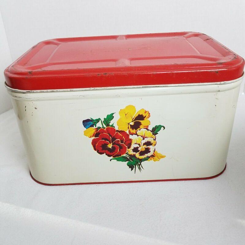 "Vintage Bread Box Metal Red & Cream  Pansies Motif Rockabilly 14""x7.5""x10"" Retro"