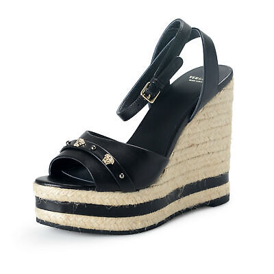 Versace Women's Black Leather Strappy Wedges Sandals Shoes US 8 IT 38