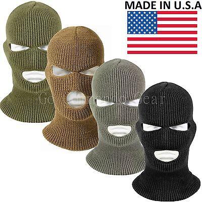 3 Hole Face Mask Ski Mask Winter Cap Balaclava Hood Army Tactical Mask USA MADE