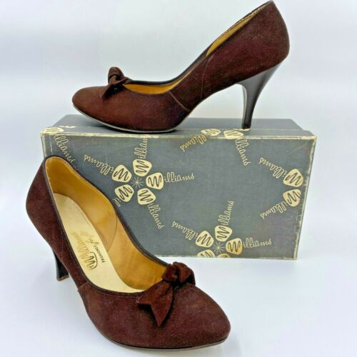 Vintage 1950s Williams Shoes size 8.5 Brown Genuine Suede Heels Bows Pumps  B4