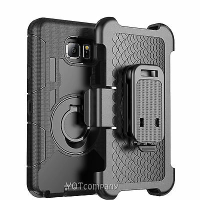 For Samsung Galaxy S6 Edge+ Plus Defender Black Case Cover w/ Belt Clip Holster