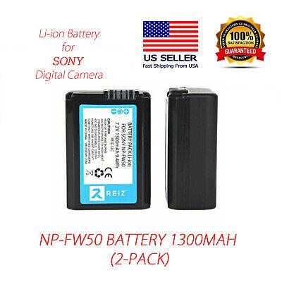 2pk   NP-FW50 Battery for Sony Alpha A6500 A6300 A6000 A7r A7