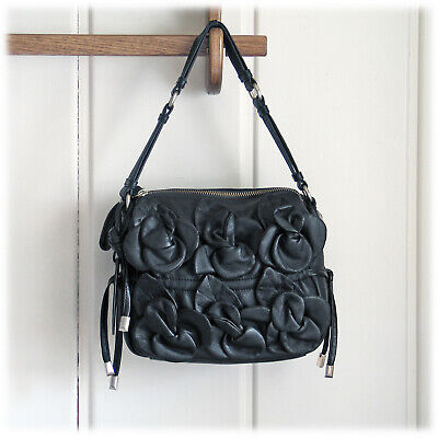 CYNTHIA ROWLEY Soft Supple Leather Flower 3D Applique Black Bag MSRP $385 NWOT