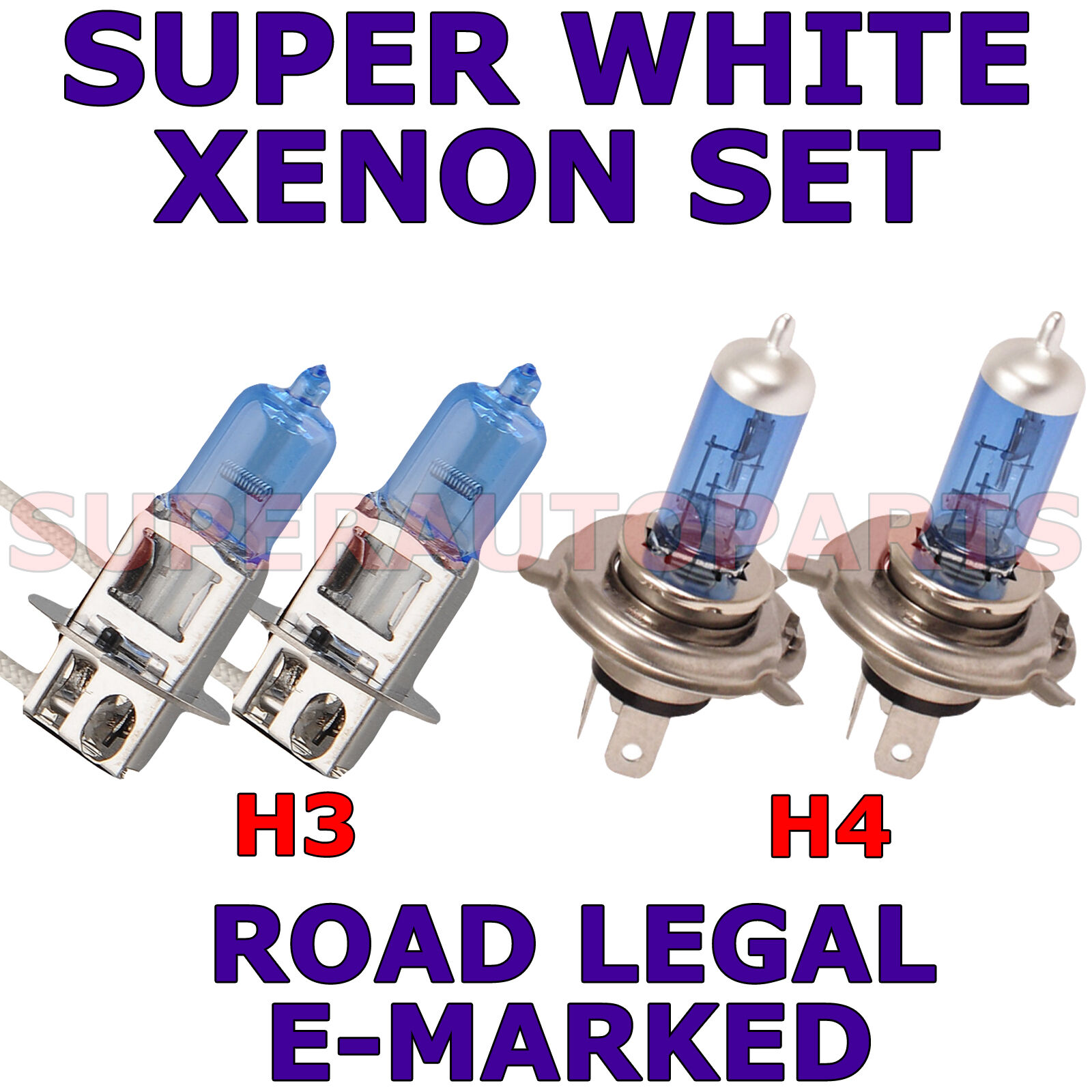 TOYOTA HIACE VAN 2006 SET OF 2X H4 H4 SUPER WHITE XENON LIGHT BULBS