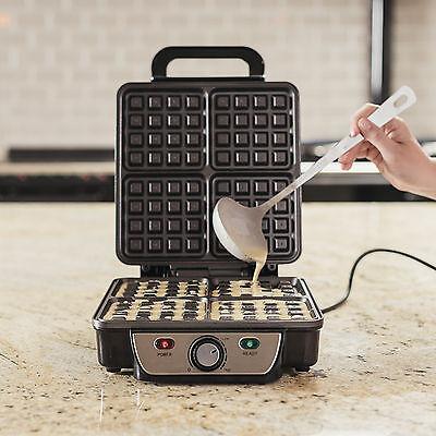 Ovation 4 Slice Belgian Waffle Maker - Non Stick Waffle Iron Machine Quad 1100W