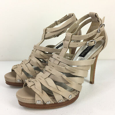 White House Black Market 5.5 6 Camellia Cage Taupe Strappy high heel sandals EUC