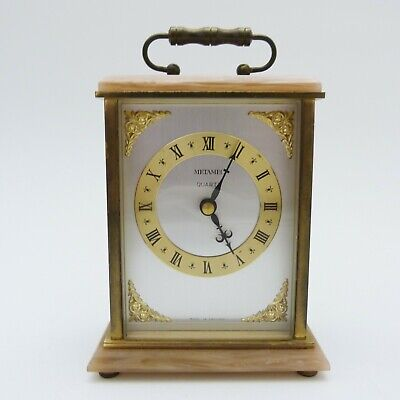 METAMEC QUARTZ MANTLE CARRIAGE CLOCK WITH PINKY BEIGE ONYX TOP AND BASE, RUNNING