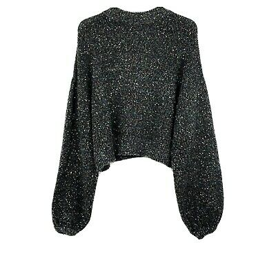 Zara Collection Cropped Sequin Sweater Balloon Sleeves Banded Wrists Comfy
