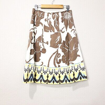 Elie Tahari Womens Sz 8 Floral Printed A-Line Midi Pleated Skirt Casual