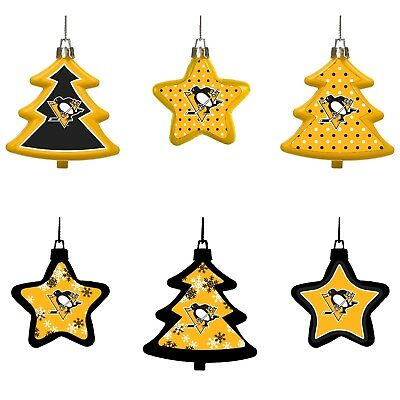 - Pittsburgh Penguins Shatterproof TREES & STARS Christmas Tree Ornaments Set 6 pk