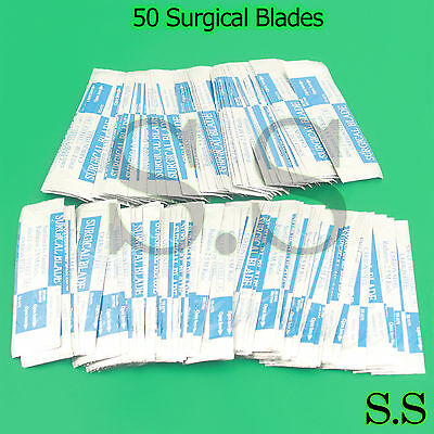 50 Pcs Surgical Sterile Scalpel Handle Blades 15 Surgical Blades
