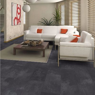 Harmonia Black Slate Tile Effect Laminate Flooring 2 05 M Pack Brand New