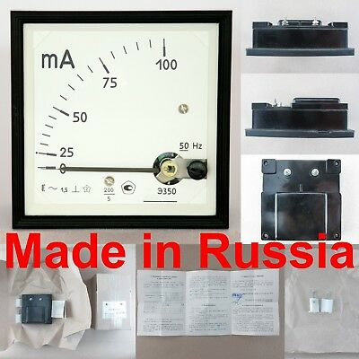 0-100ma Ac Ammeter E377x Russian Analog Panel Amp Meter 9696mm Current Gauge