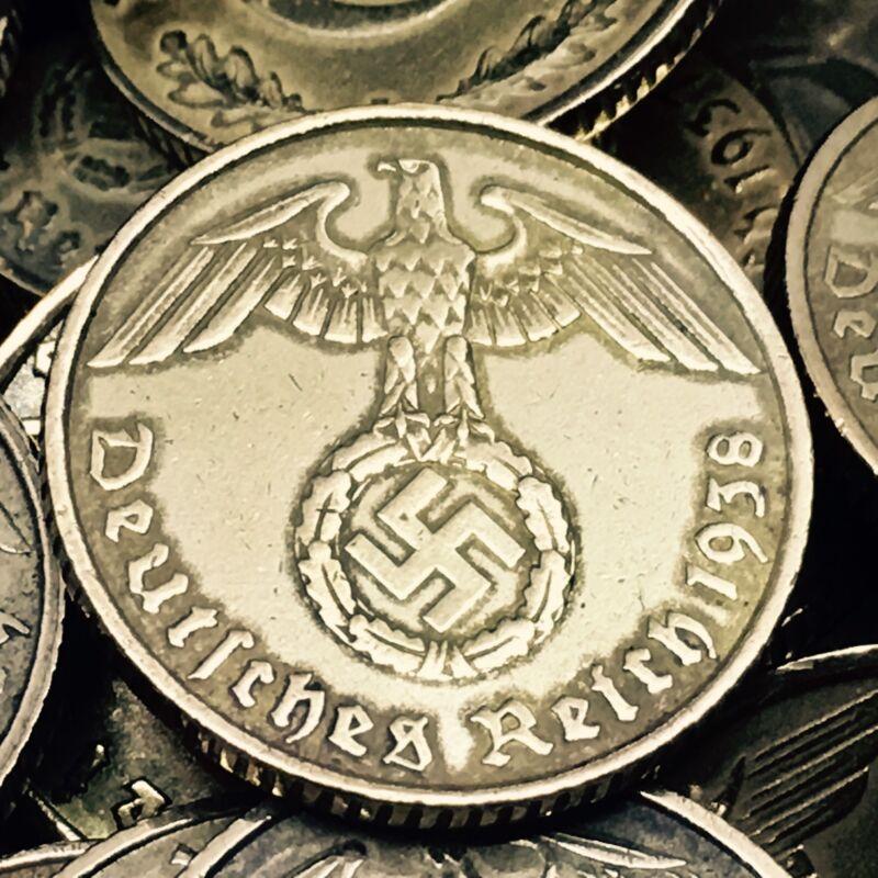Rare World War 2 Germany 5 RP Reichspfennig Aluminum Bronze Coin