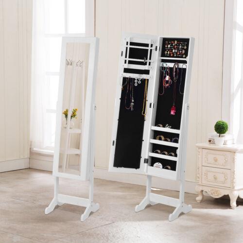 Wooden Mirrored Jewelry Cabinet Armoire Organizer Storage Ch