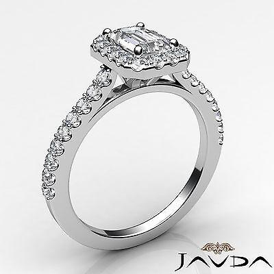 Halo Emerald Cut Diamond Engagement French U Pave Wedding Ring GIA F VS2 1.21Ct 1