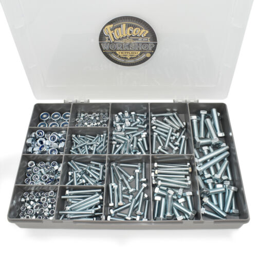 340 ASSORTED PIECE ZINC M4 M5 M6 M8 M10 THREADED BOLTS NYLOC NUTS & WASHERS KIT