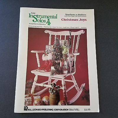 Christmas Joys Easy Instrumental Solos 4 Trombone Baritone Bass Clef Music Book