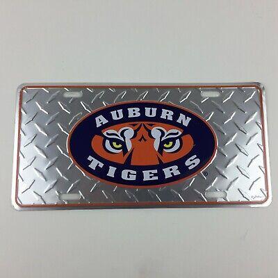 - Auburn Tigers Eye Logo Metal Car Tag License Plate - Color Silver Pattern