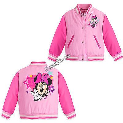 Princess Minnie Mouse Pink School Varsity Jacket for Girls Disney Store 9/10 NEW - Varsity Jacket For Girl
