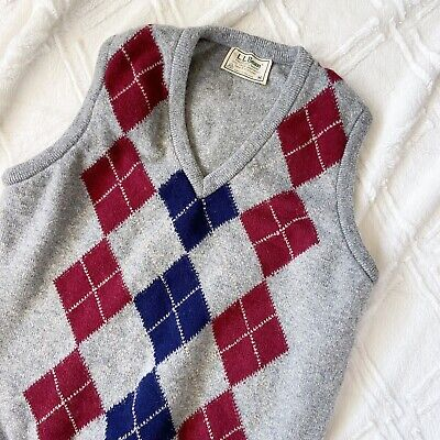 Vintage Mens Medium LL Bean Wool Sweater Vest Made in Ireland Red Blue Argyle