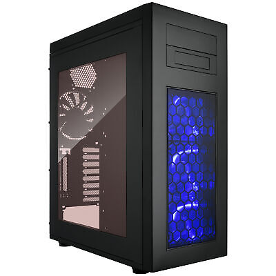 ATX Full Tower PC Gaming Computer Case Blue LED Fans, Supports EATX/Dual PSU