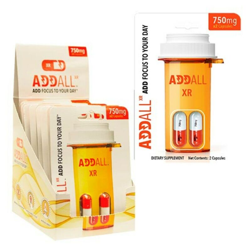 AddAll XR 750mg, Energy Focus Concentration, 12 Packs - 24 Capsules -