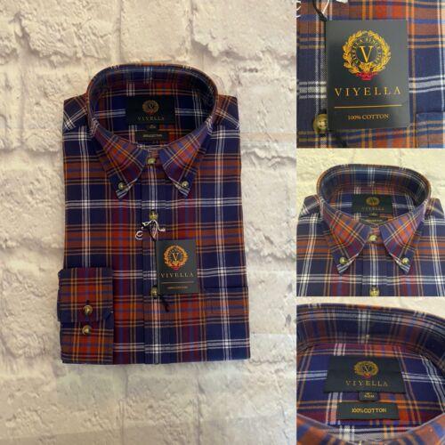 Viyella Shirt, Warm Brushed Cotton, Size 16, Brown/Blue Check, BNWT
