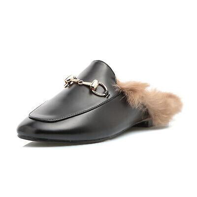 Scarpe donna ciabatta pelo eco pelliccia sabot diapositive mocassino moda r1p123