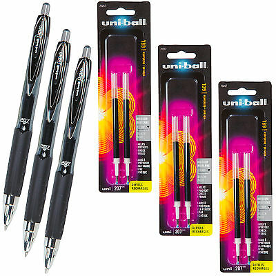 Uniball Signo 207 Black Gel Ink Rollerball Pens With 3 Packs Of Refills 0.7mm
