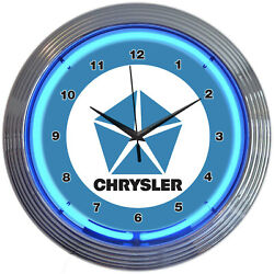 Chrysler Pentastar Logo Blue Neon Hanging White Wall Clock 15 Diameter 8CRYBL