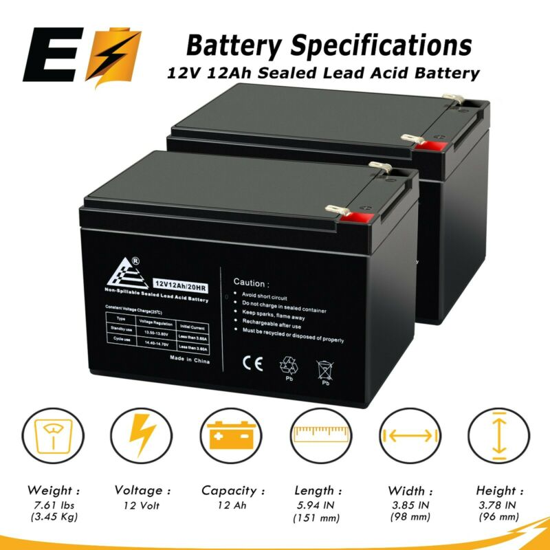 12 Volt 12Ah_2 Pack - Replaces UB12120F2 12V 12Ah F2 Wheelchair Scooter Battery