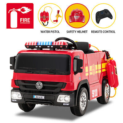 12V Fire Truck Ride on Toy Electric Kids Car 3 Speed w/ RC Water Tank & Helmet