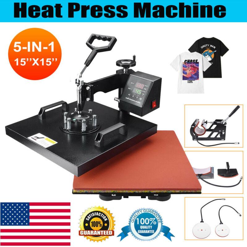 "15""x15"" 5 IN 1 Combo T-Shirt Heat Press Transfer Machine Sublimation Swing Away"