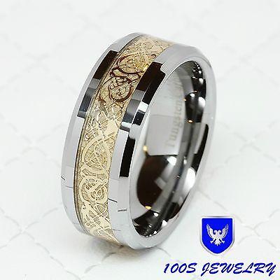 8MM Tungsten Carbide Gold Celtic Dragon Inlay Men