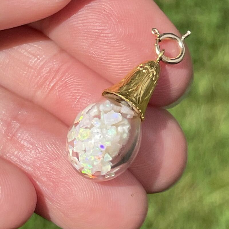 14k Yellow Gold FLOATING OPAL Snow Globe Pendant. IMPERFECT *VIDEO*