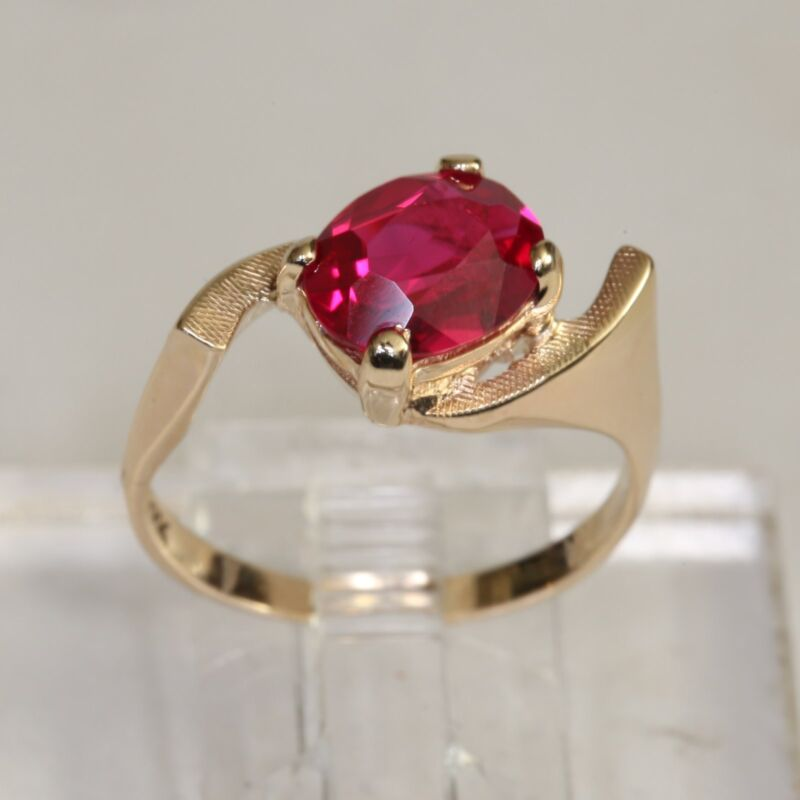 ART DECO SOLID 10K GOLD 1.97 ctw RUBY RING, 3.7 g., size 7.25, MINT! Not Scrap