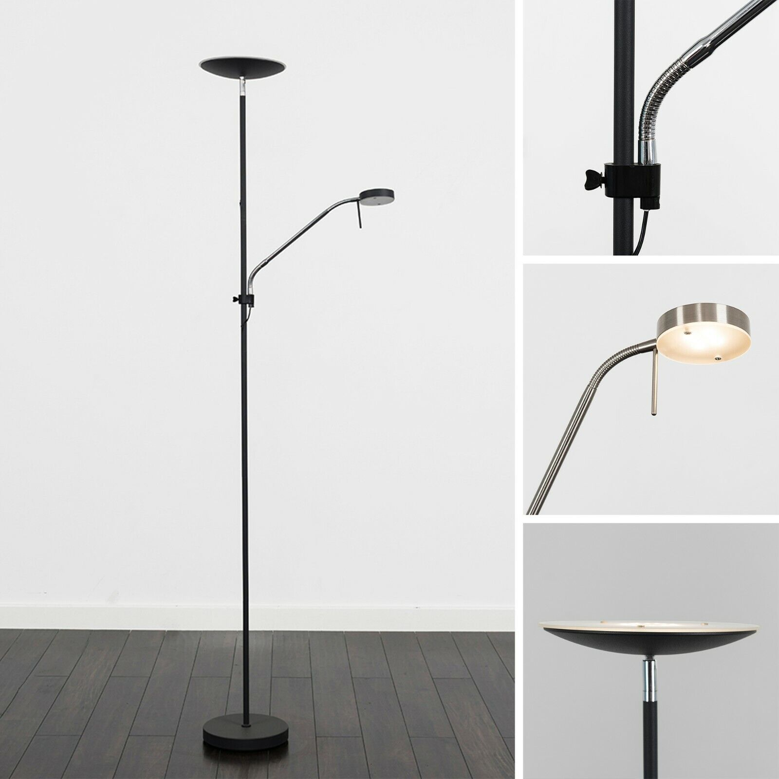 Details about Modern Integrated LED Floor Lamp Father (16W) and Son (4W) Design Warm White