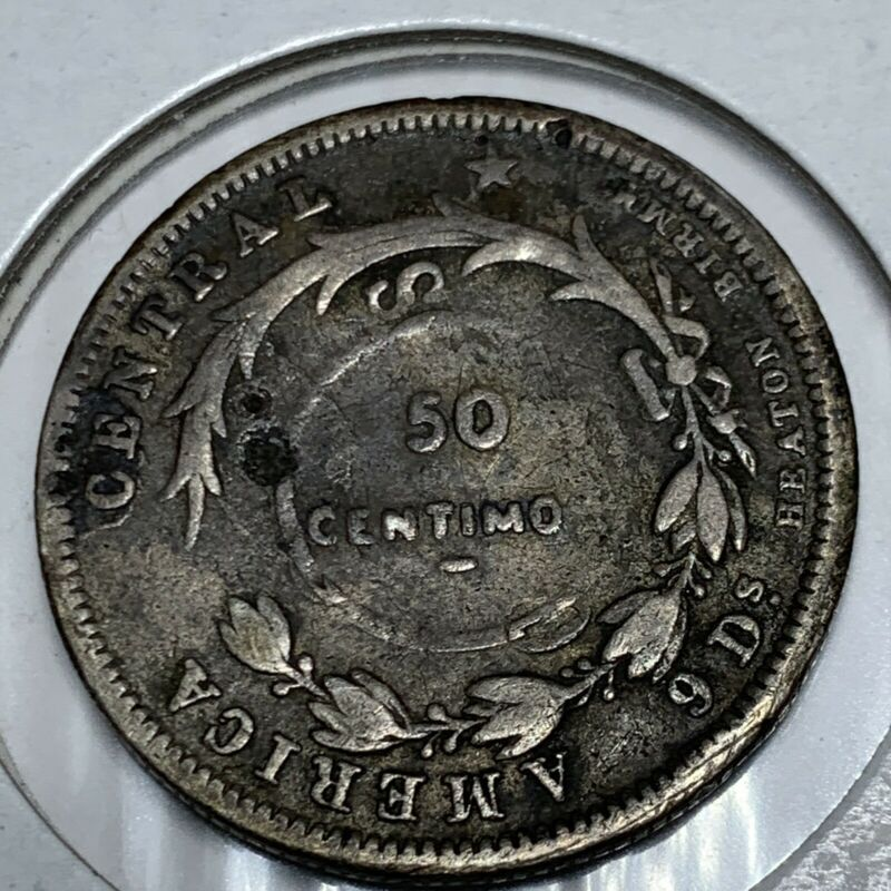 COSTA RICA: 50 CENTIMOS 1893 COUNTER-STAMPED ON 25 CENTAVOS SILVER