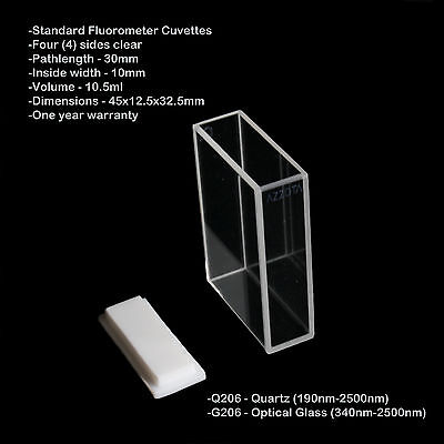 Azzota 30mm Pathlength Standard Fluorometer Cuvettes - 10.5ml Glass