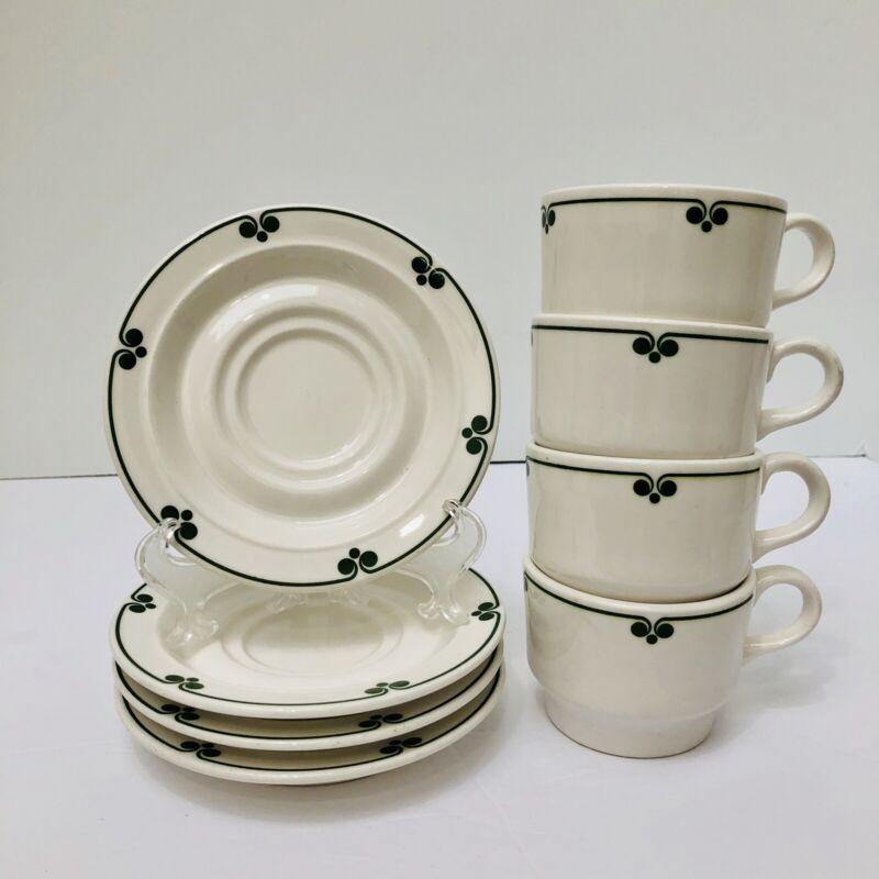 Vintage Shenango China Anchor Hocking 4 Demitasse Cups Saucers Restaurant Ware