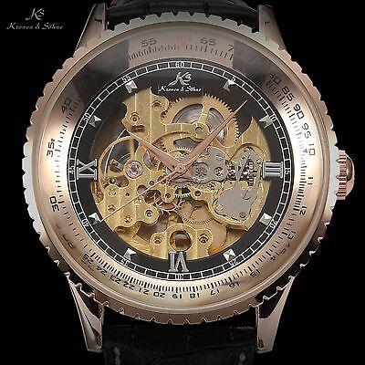 KS Men's Classic Skeleton Automatic Mechanical Black Leather Sport Wrist Watch
