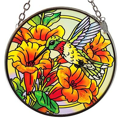 Hummingbird In Trumpet Flowers Suncatcher Hand Painted Glass AMIA Studios 3.5""