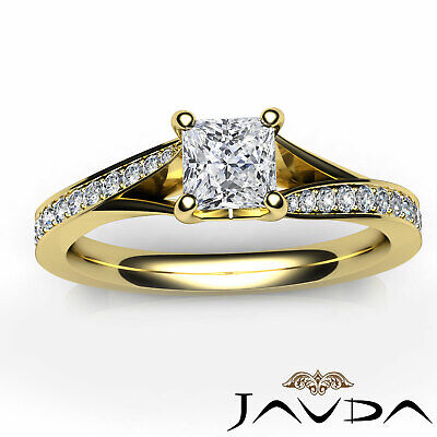 Classic Side Stone Pave Princess Diamond Engagement Ring GIA D Color SI1 0.85Ct 10