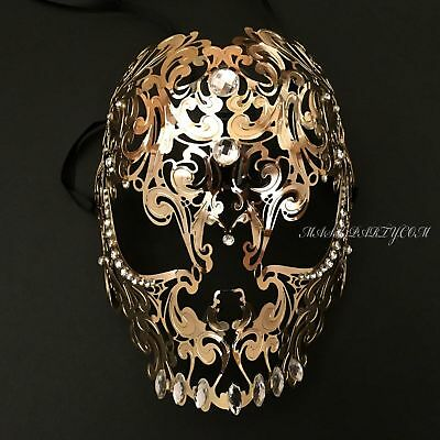 Men Masquerade Alluring Metal Skull Filigree Carnival Halloween Birthday Mask - Halloween Masks For Men