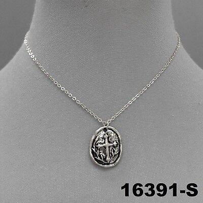 Hammered Oval Coin Religious Cross Embedded Charm Silver Finish Dainty Necklace
